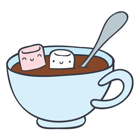 hot: cartoon cup of hot chocolate and smiling marshmallows - doodle hand drawing vector illustration