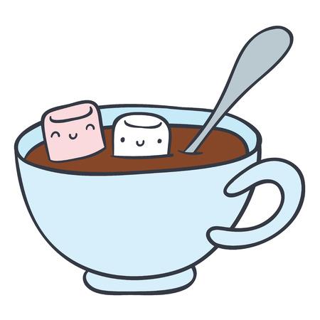 cartoon kop warme chocolademelk en glimlachen marshmallows - doodle hand tekenen vector illustratie