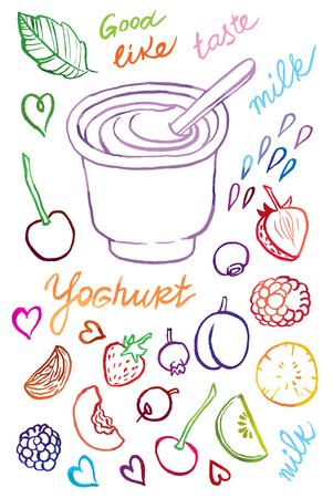ヨーグルトとスプーンをさまざまな果物の図面のベクトル図を手します。