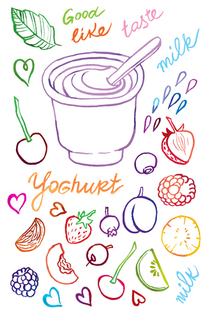hand drawing vector illustration of yogurt and spoon with different fruits