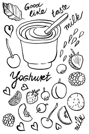 yogurt: Ilustraci�n de dibujo vectorial mano del yogur y de la cuchara con diferentes frutas