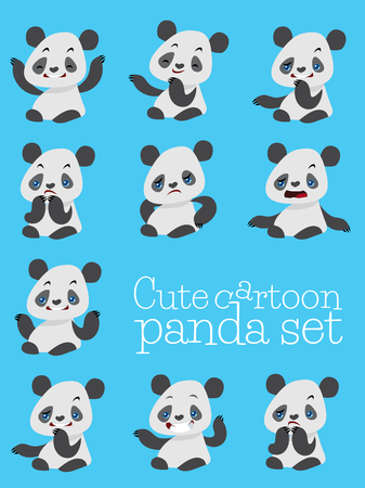cute panda: cartoon cute panda different emotions , vector set