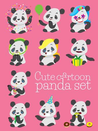 cute panda: cartoon cute panda birthday vector set with different happy emotions
