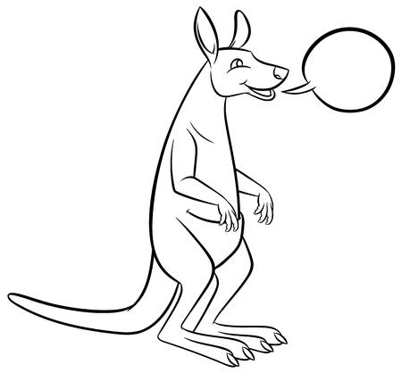 omnivore animal: Vector cartoon kangaroo - outline art Illustration