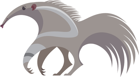 stylized image of cute big anteater