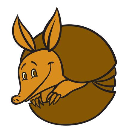 Vector illustration of happy cartoon funny armadillo Illusztráció
