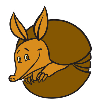 Vector illustration of happy cartoon funny armadillo Illustration