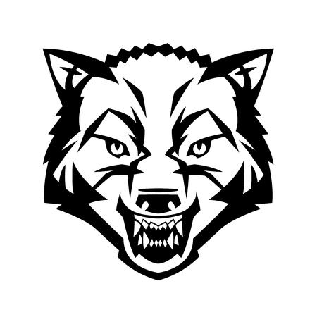 wolf hoofd met tanden agressieve beest jager bos vector kan worden gebruikt als een tatoeage Vector Illustratie