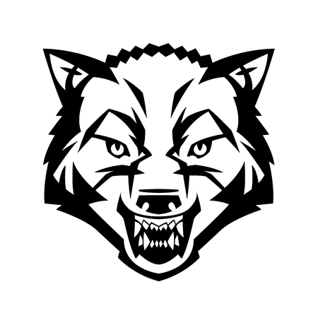 black and white wolf: wolfs head showing teeth harsh beast hunter forest vector can be used as a tattoo