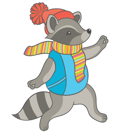 runs: Vector illustration - cartoon raccoon wearing a scarf and winter hat fun runs