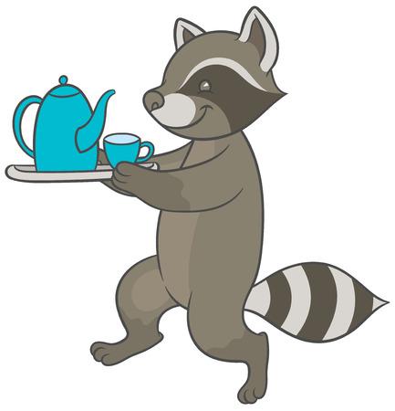 carries: Vector illustration - cartoon raccoon carries tray of tea and teacup
