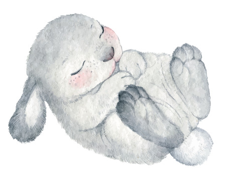 cute rabbit vector watercolor hand drawing sketch Illustration Vettoriali