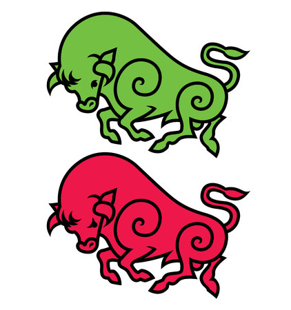 corrida: energetic galloping bull - vector illustration logo, mascot or symbol template