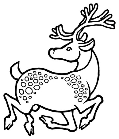 fission: decorative sika deer - vector illustration