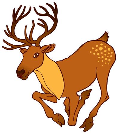 couple lit: cute cartoon alive deer running with big horns - vector illustration Illustration