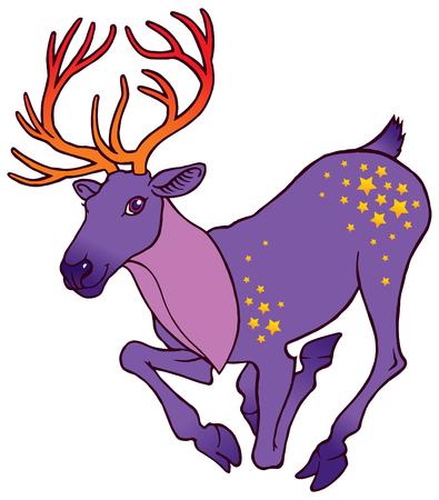 white tail deer: cute cartoon fantasy alive deer running with big horns - vector illustration Illustration