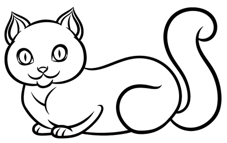 lying: Isolated black and white lying cat - hand drawing line art on white background for childrens coloring Illustration