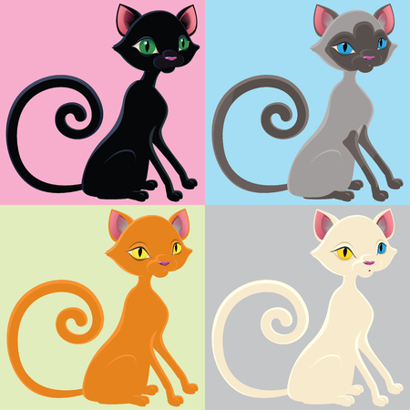 cats playing: Cartoon cat of different color
