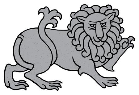heraldic lion: Powerful heraldic lion - vector art with texture of stone