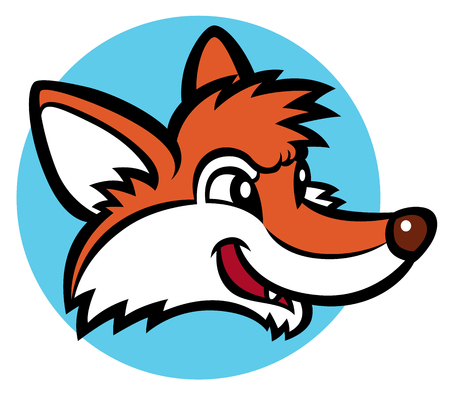 cartoon orange: funny cartoon fox - mascot character Illustration