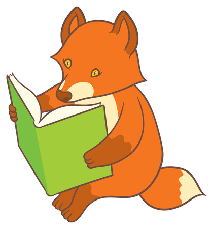 mindful: Cartoon fox reading a big book  - vector drawing Illustration