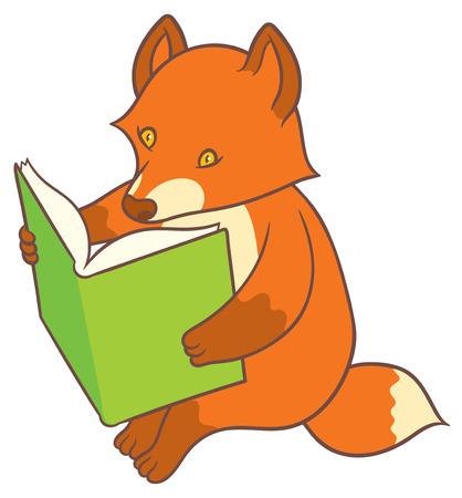 artful: Cartoon fox reading a big book  - vector drawing Illustration