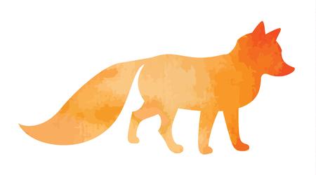 vectorized: vectorized watercolor red orange fox Illustration