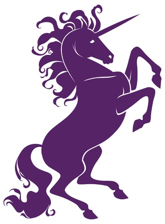 mane: silhouette of beautiful prance unicorn with long mane vector for design