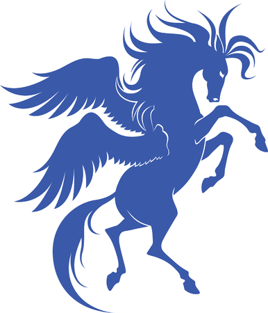 Graceful silhouette of Pegasus for design Illusztráció