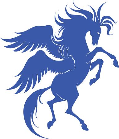 Graceful silhouette of Pegasus for design Illustration