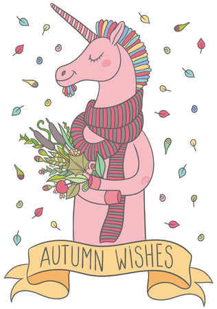 hooves: cute cartoon unicorn in a scarf with autumn bouquet of plants in hooves Illustration