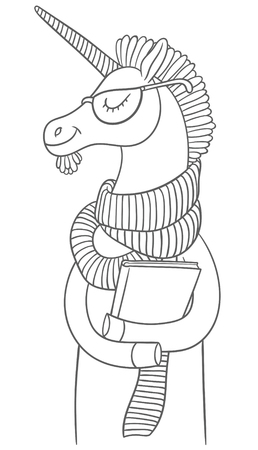 hooves: cute cartoon unicorn in a scarf and sunglasses with big book in hooves Illustration