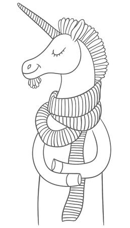 accessories horse: cute cartoon unicorn in a scarf