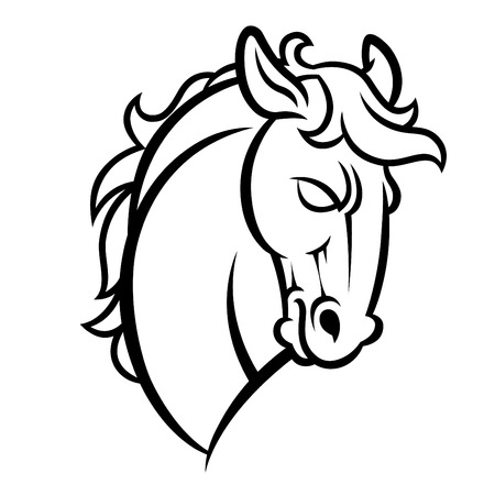 gelding: Mustang stallion horse head vector illustration - graphic mascot image isolated on white background