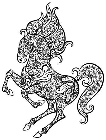 cowboy cartoon: Zentangle ornate horse - hand drawn doodle vector illustration for tattoo or makhenda Illustration