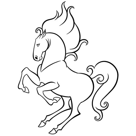 gambol: energetic horse reared - hand drawn doodle vector illustration