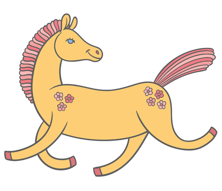 good mood: cute cartoon horse in a good mood rides jumps and smiles Illustration