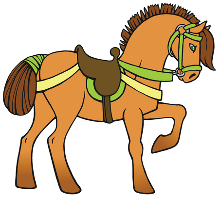 Colorful horse with a saddle and harness vector