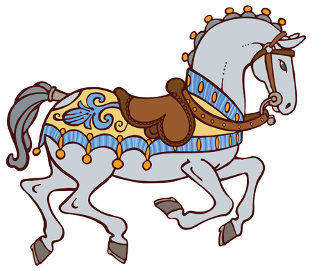 harness: Colorful horse with a saddle and harness vector Illustration