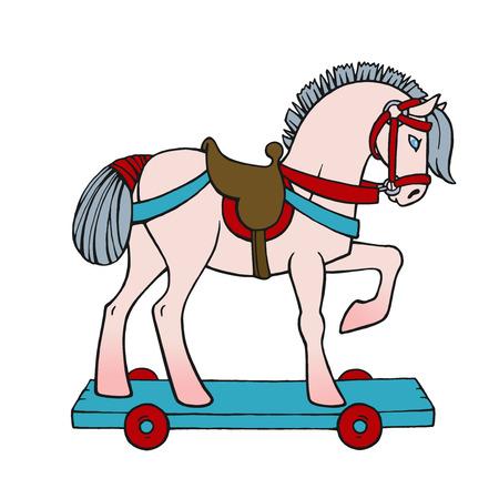Bright elegant smart toy horse - vector illustration