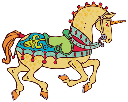 harness: Colorful smart unicorn with a saddle and harness vector Illustration