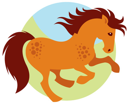 brown horse: Cartoon galloping red horse vector Illustration