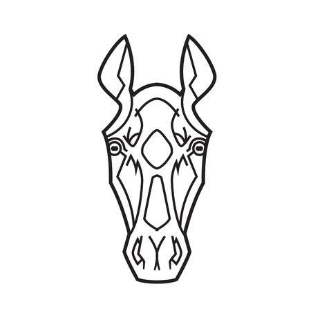 horse like: horse head stylization ears raised thoroughbreds like a tattoo