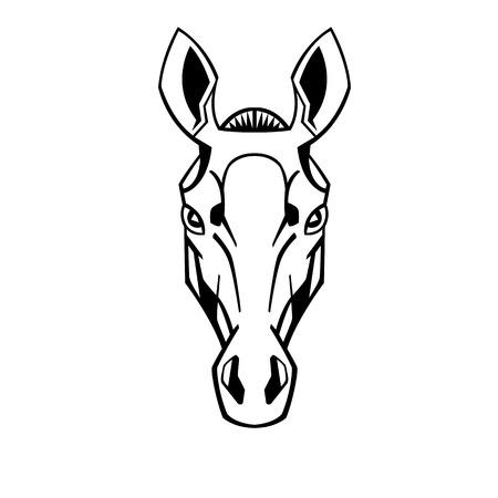 paddock: horse head stylization ears raised thoroughbreds like a tattoo
