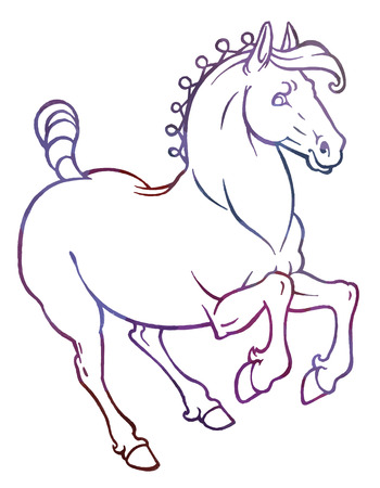 mythical festive: galloping horse - vector hand drawing illustration Illustration