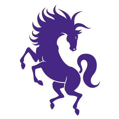 energetic: silhouette of strong powerful horse - rearing stallion energetic Illustration