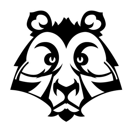 bruin: Bear head for tattoo or mascot   vector black and white image Illustration