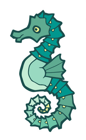 horsefish: green seahorse - stylized vector illustration