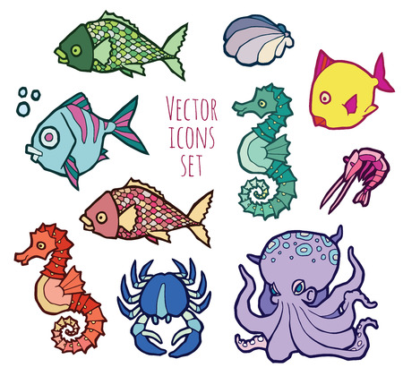 horsefish: animals - marine life - colorful vector icons set