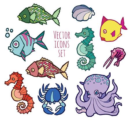 animals - marine life - colorful vector icons set